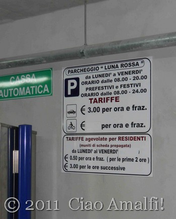 Parking Costs Amalfi