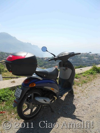 Scooter and View of Amalfi Coast from Scala