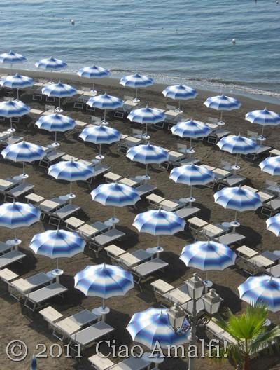 Beach umbrellas in Atrani