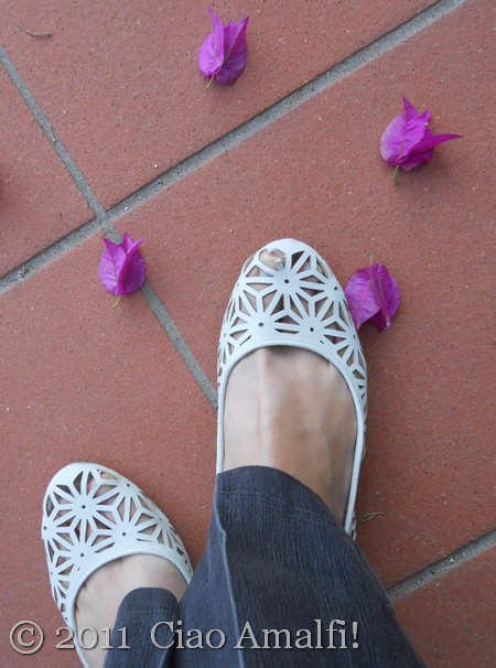 Bougainvillea and White Shoes