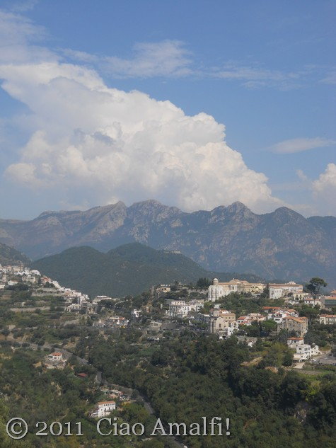 Cumulus clouds over Ravello