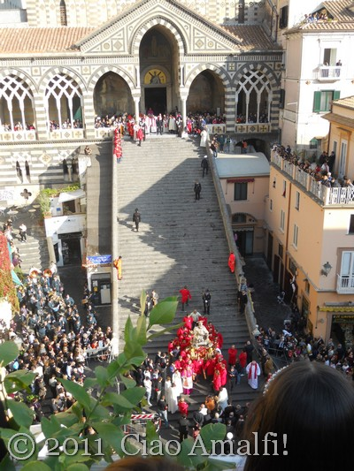 Watching the procession of Sant Andrea in Amalfi