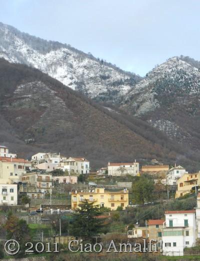 Snow about Scala on the Amalfi Coast