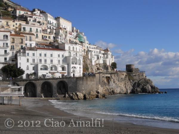 Blue January sky and sea in Amalfi