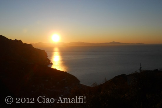 Sunrise above Minori on the Amalfi Coast