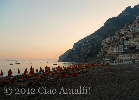 Romantic Amalfi Coast sunset in Positano