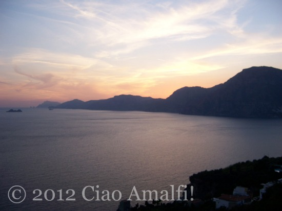 Amalfi Coast Romantic sunset view Praiano