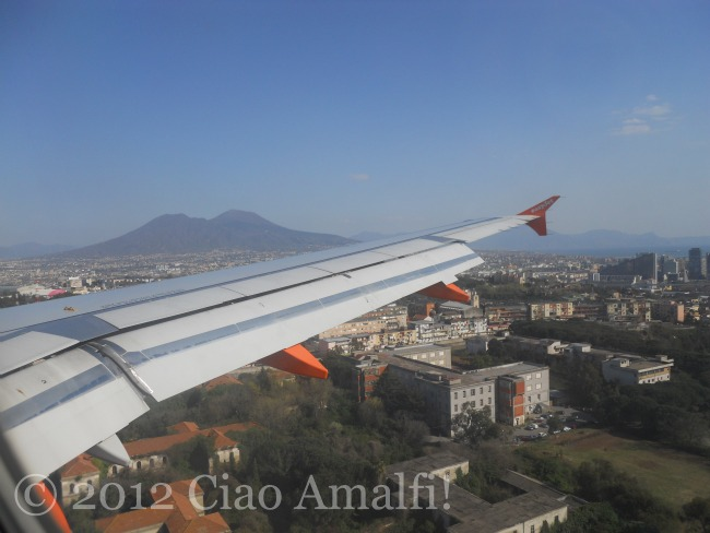 Mt Vesuvius landing in Naples Italy airport