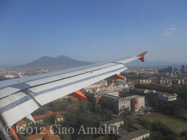 Mt Vesuvius landing in Naples Italy airport
