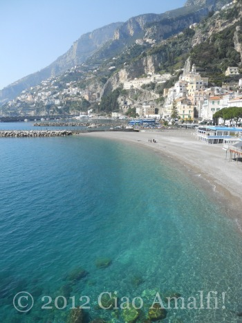 Spring beach scene on the Amalfi Coast