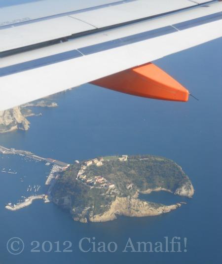 Flying into Naples Airport Nisida Island