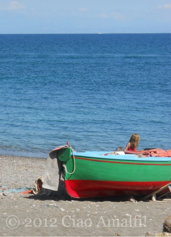 Fishing Boat on the Beach in Atrani Amalfi Coast Italy