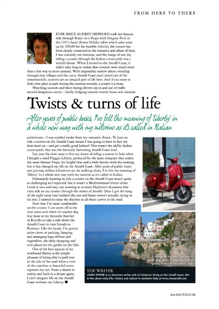 Italia Magazine Column on the Amalfi Coast June 2012