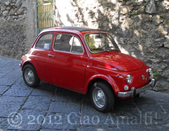Vintage Red Fiat 500 on the Amalfi Coast