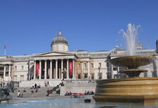 National Gallery and Fountains in Trafalgar Square in London
