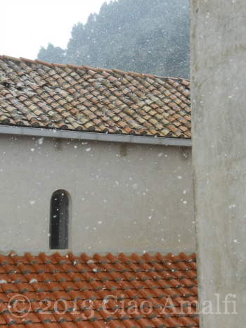 Snowflakes and terracotta tile roof Amalfi Coast