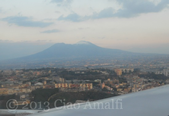 Snowy Cap on Vesuvius Naples Italy
