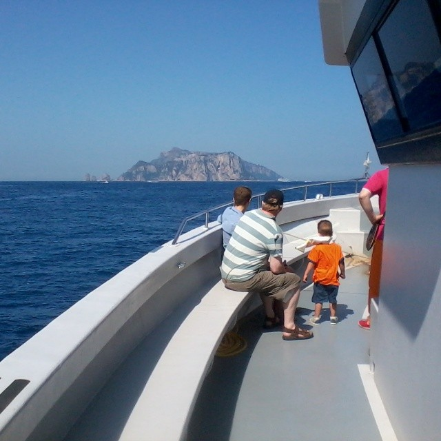 I'm traveling in America visiting family for a few weeks, but missing home, too. So kicking off #21daysofcapri with a view of #Capri from the ferry. Almost there! #boat #summer #amalficoast