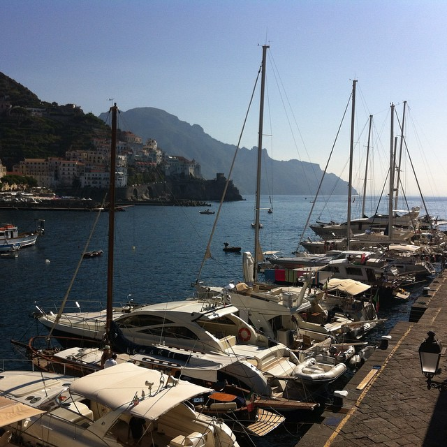 The morning boat crowd in #Amalfi. Not a bad place to spend the night! #AmalfiCoast #boats #italy #travel #summer