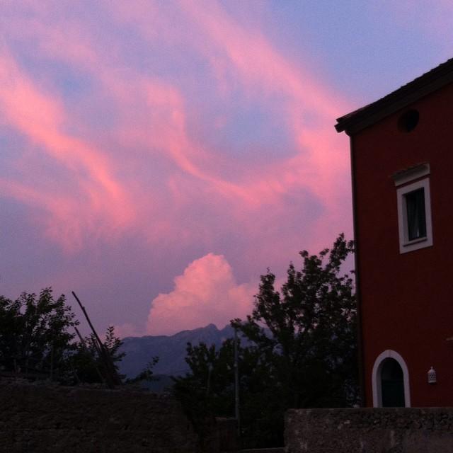 Red house, pink sky. #AmalfiCoast #italy #sunset