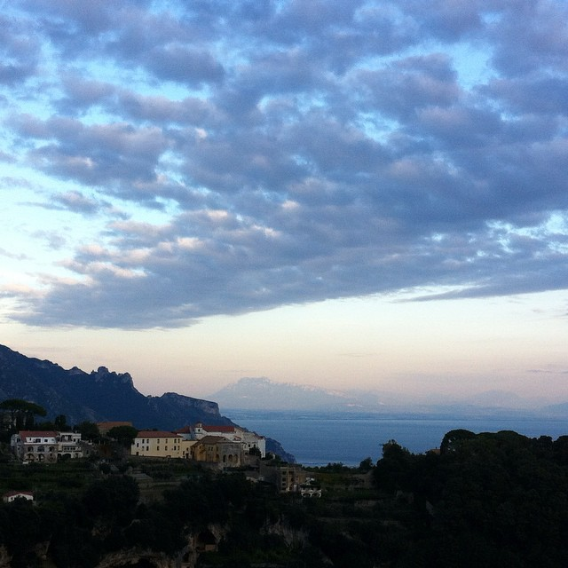 A sweep of clouds across the sky at sunset. So very grateful to call this beautiful place home. #AmalfiCoast #Ravello
