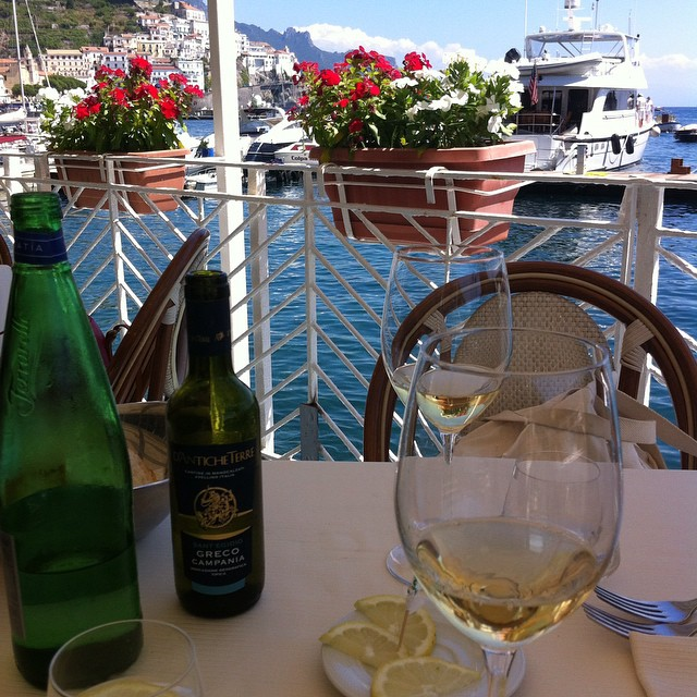 White wine from Avellino and a view of #Amalfi. #AmalfiCoast #wine #campania #summer #sweet #italy #ig_amalficoast