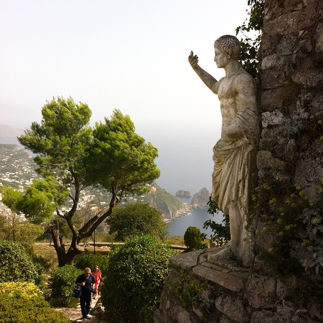 Last Tuesday I was at the top of Monte Solaro and since then I've been to the emergency room with my husband, several doctor visits and learned how to give shots. Inside I still go back to that expansive beauty and the sound of the wind blowing through the pine trees way at the top of #Capri. Soon he'll be feeling better!