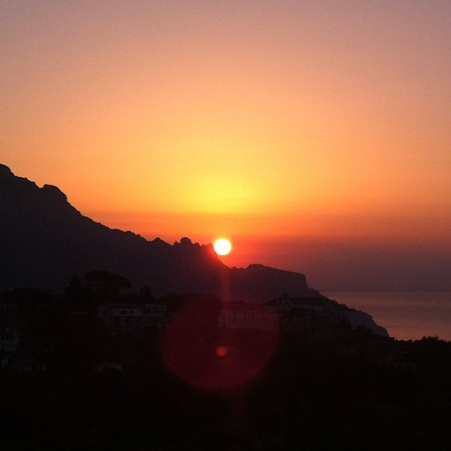 And everything is orange for just a few precious moments. #sunrise #AmalfiCoast #Italy #ig_amalficoast