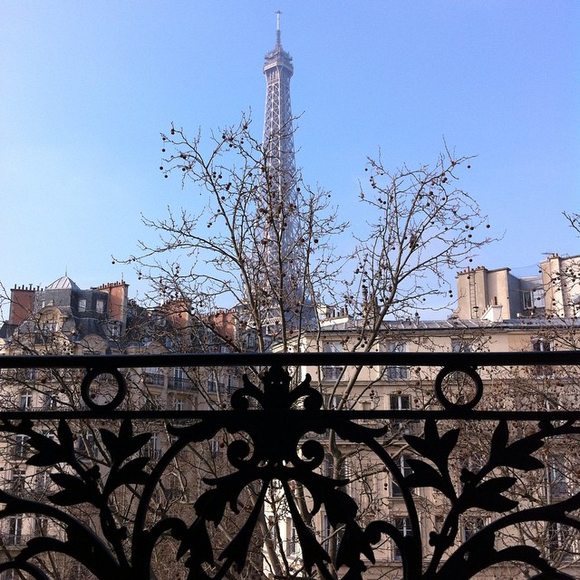 The view from the apartment is swoon worthy...good thing this is the view from the bed! #Paris #ParisPerfect #EiffelTower