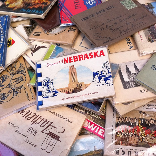 A stash of vintage tiny postcards at the Marché des Enfants-Rouges...including a familiar sight.  Spotted with @frenchcalifornian. #Paris #Nebraska #latergram