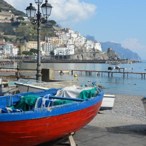 Amalfi Coast Winter Blues and Reds