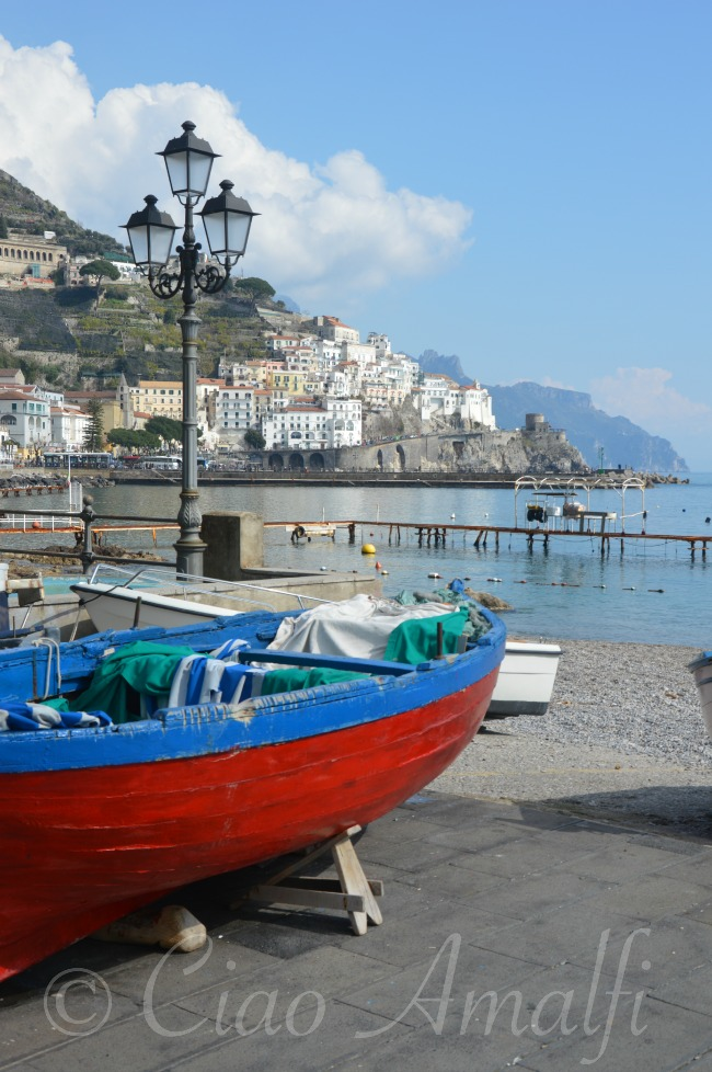 Amalfi Coast Winter Blues and Reds