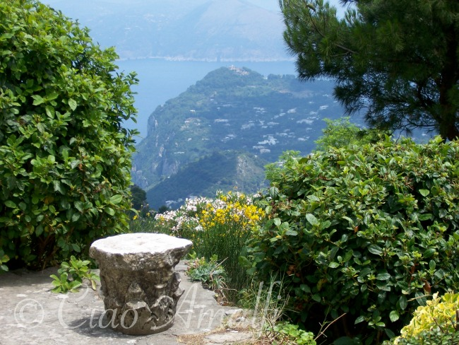 Amalfi Coast Travel View of Villa Jovis from Monte Solaro