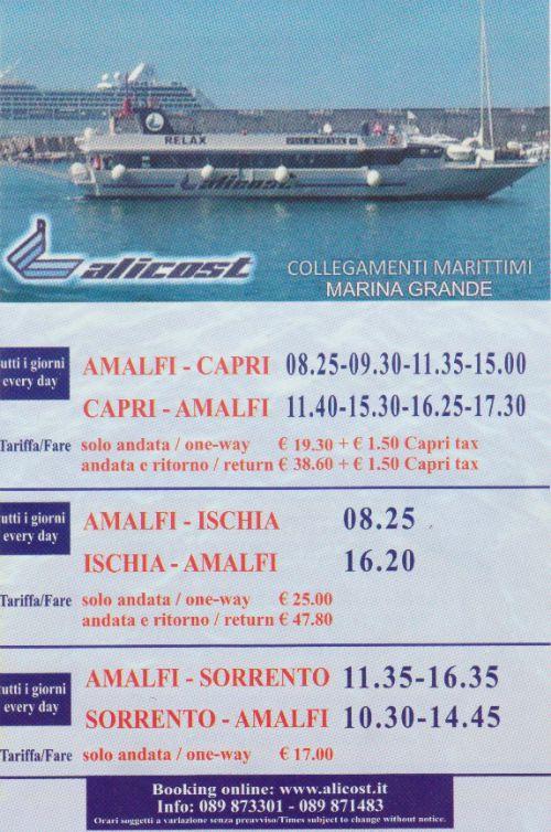 Alicost Schedule Amalfi