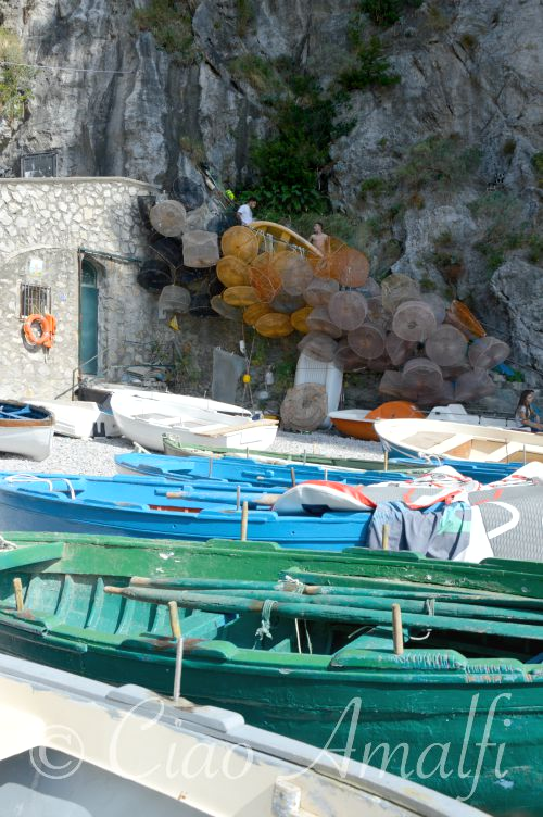 Amalfi Coast Travel La Praia Beach Fishing Boats and Nets