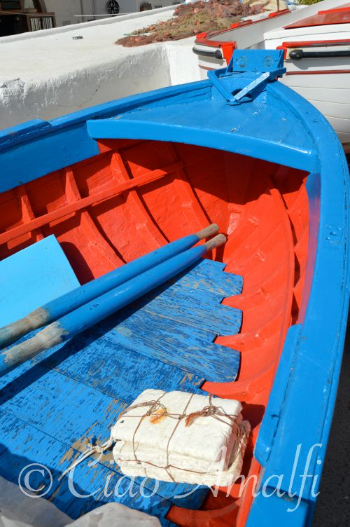 Amalfi Coast Travel Praia Fishing Boat Red and Blue