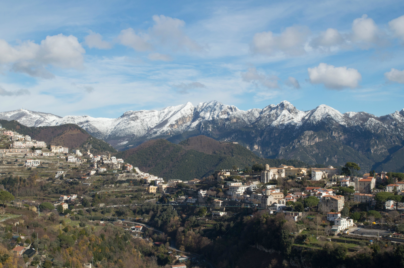 Snow on the Amalfi Coast over Ravello