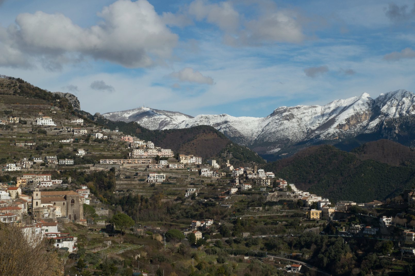 Snow on the Amalfi Coast over Scala