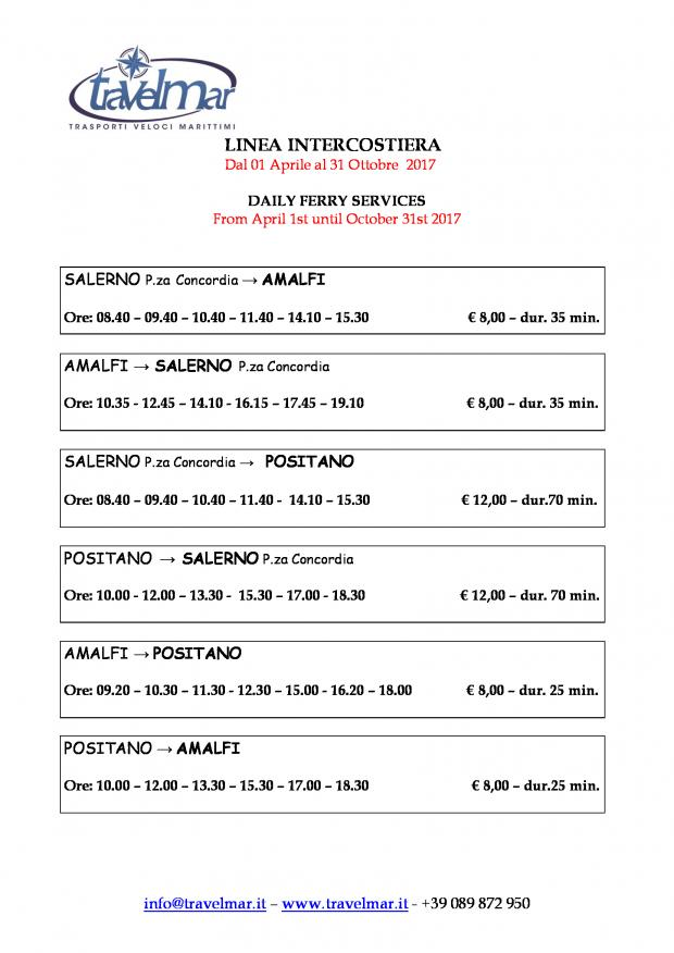 Travelmar Amalfi Coast Ferry Schedule 2017