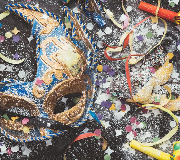 Carnival Mask and Confetti