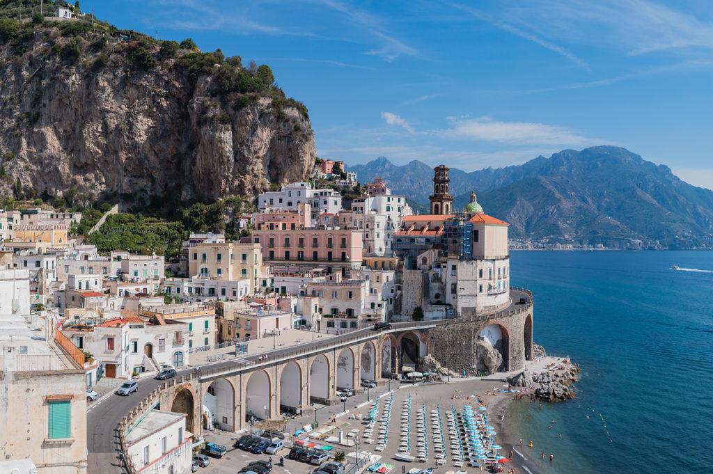 Amalfi Coast Road in the town of Atrani