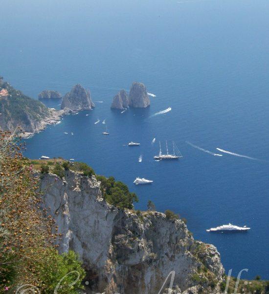 Amalfi Coast Travel Faraglioni rocks from Monte Solaro