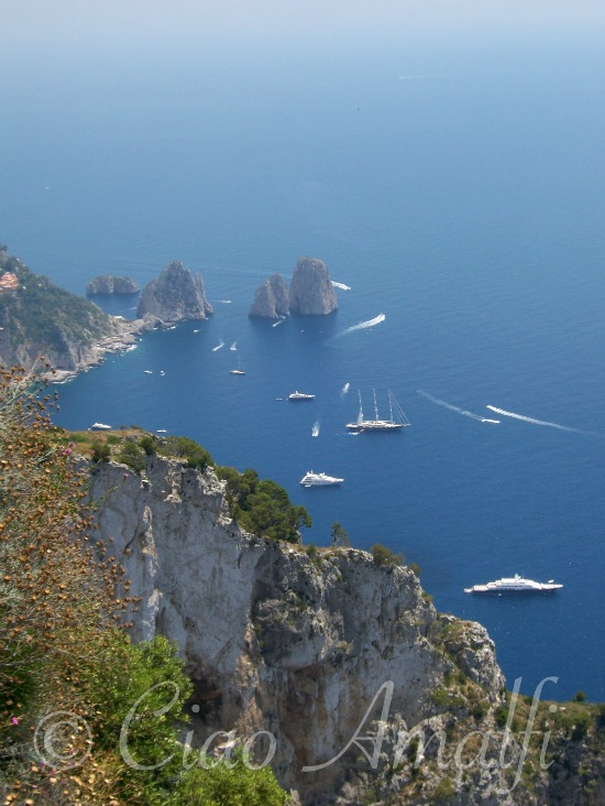 Amalfi Coast Travel Faraglioni rocks from Monte Solaro