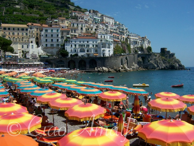 Amalfi Coast Beaches Colourful Sun Umbrellas At The Marina Grande Beach In Horizontal