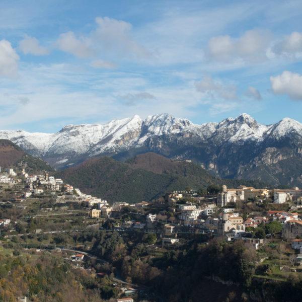 Snow on the Amalfi Coast over Ravello