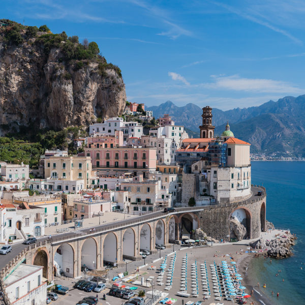 Amalfi Coast Road in the town of Atrani